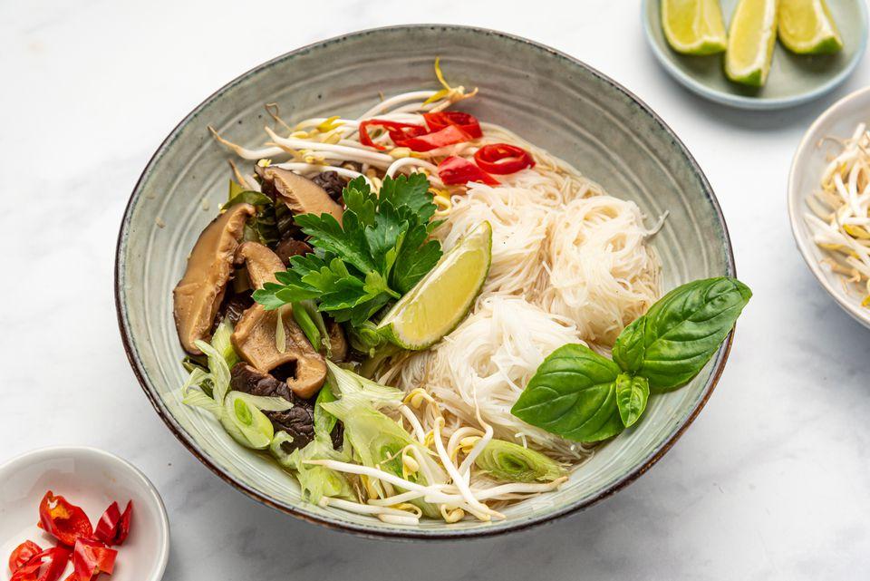 Vegan Vietnamese Pho With Bok Choy and Mushrooms