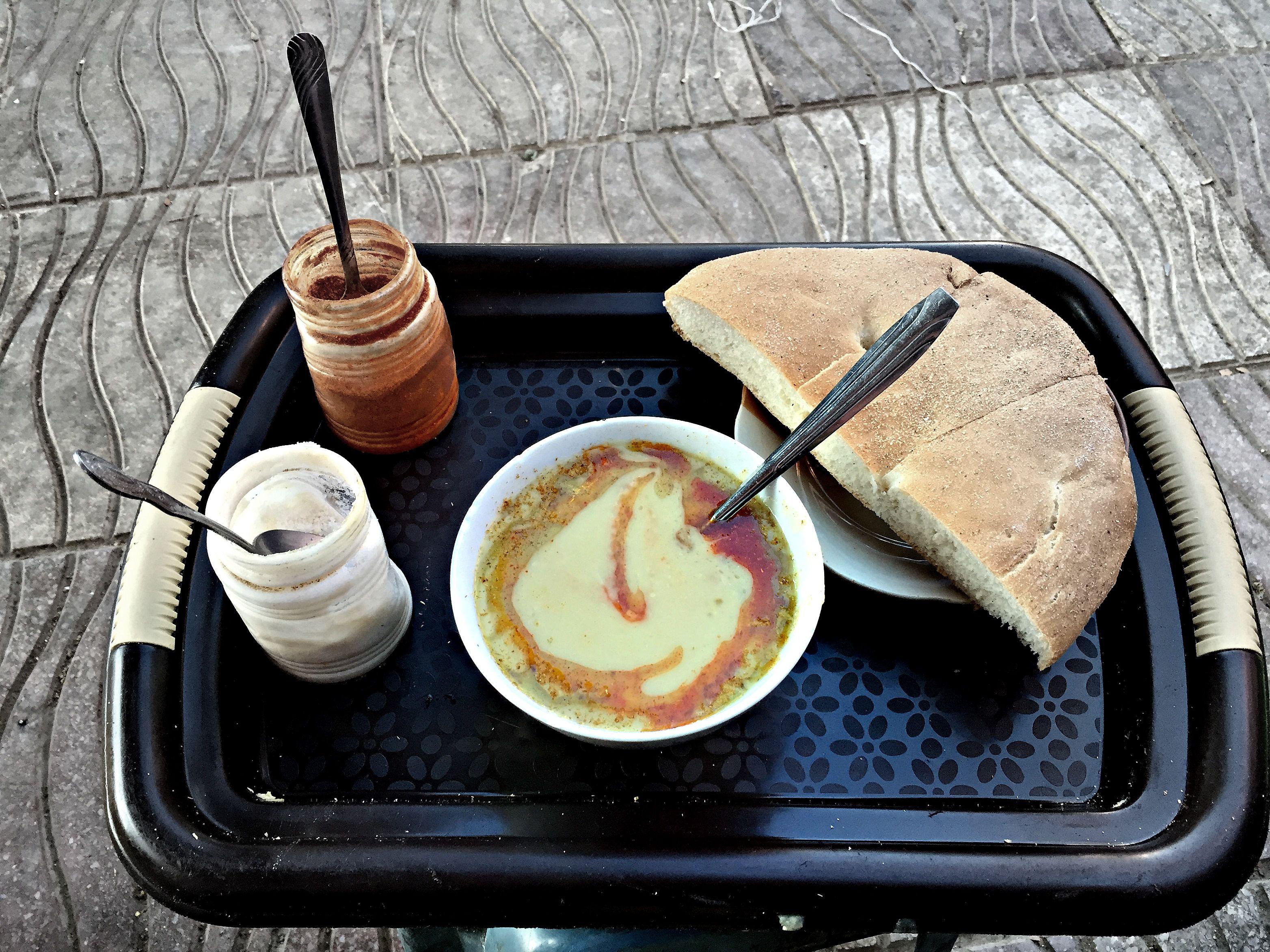 Moroccan fava bean puree on tray