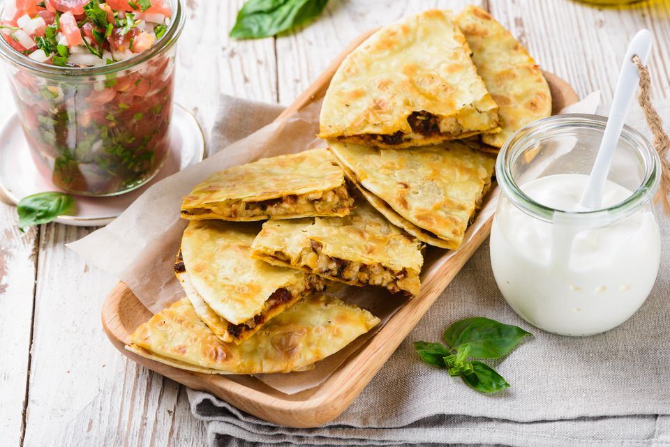 Grilled quesadilla with turkey and sundried tomato pesto