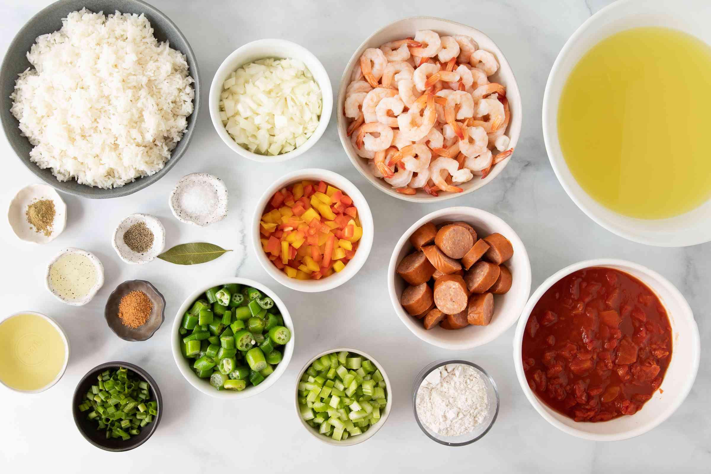Shrimp and Sausage Gumbo ingredients