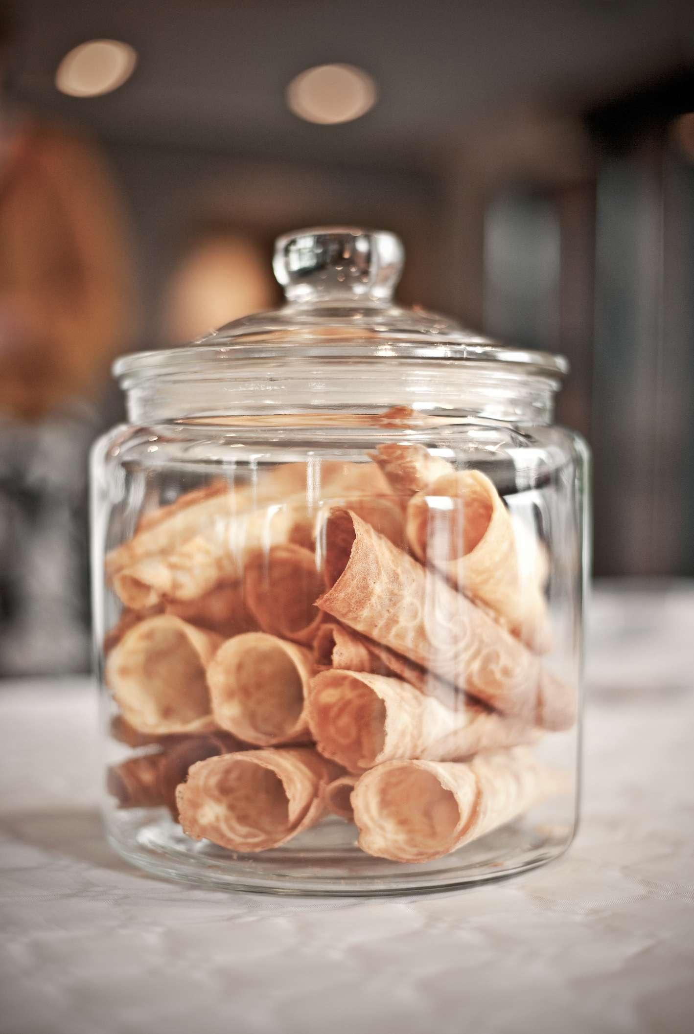 Krumkake Cookies in a glass jar