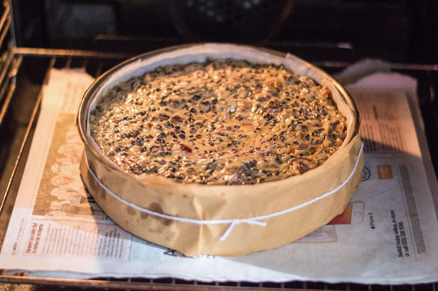 British Christmas cake baking in the oven