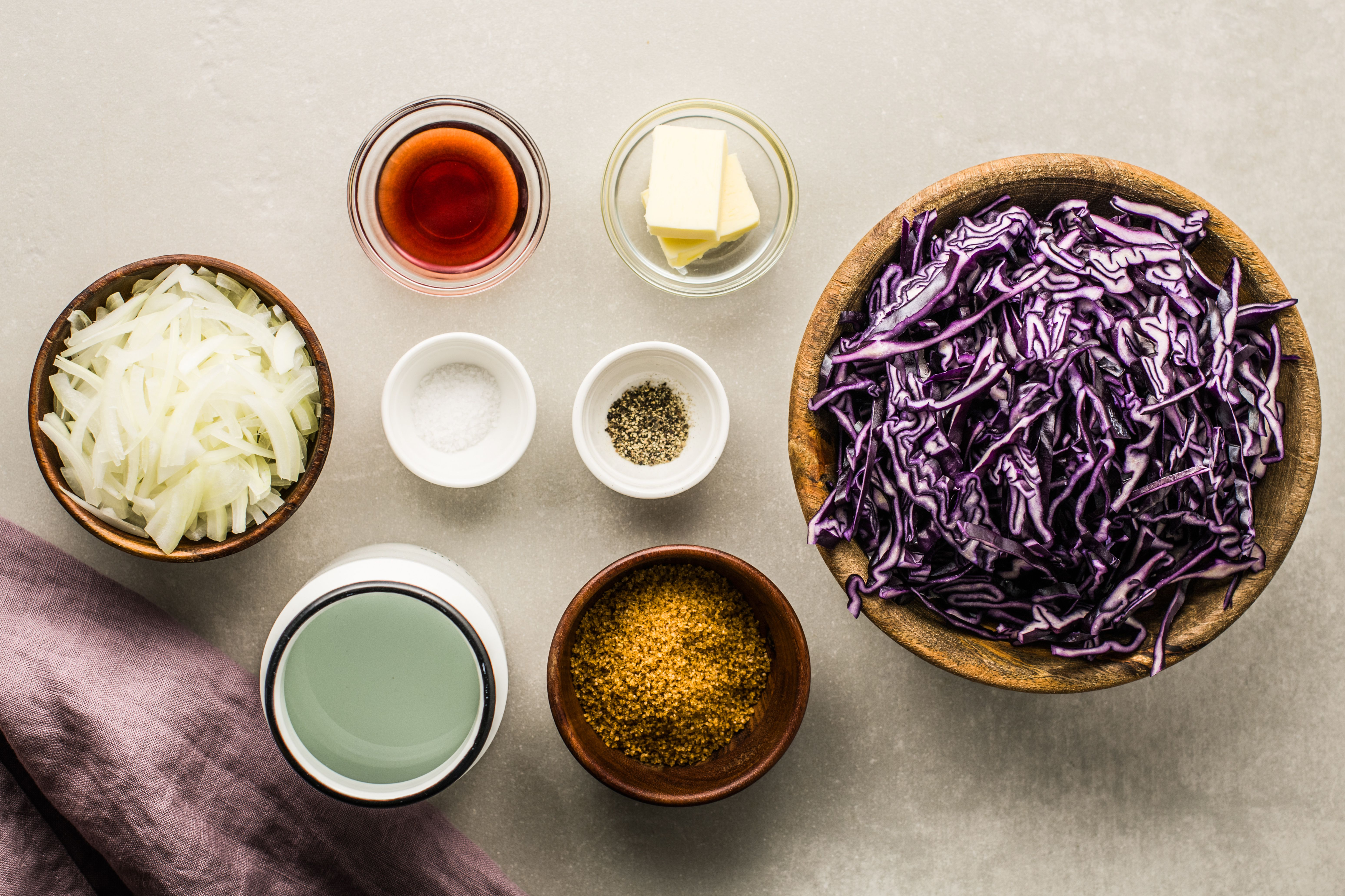 Ingredients for Polish braised red cabbage