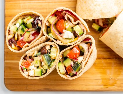 Greek vegetable and feta wrap
