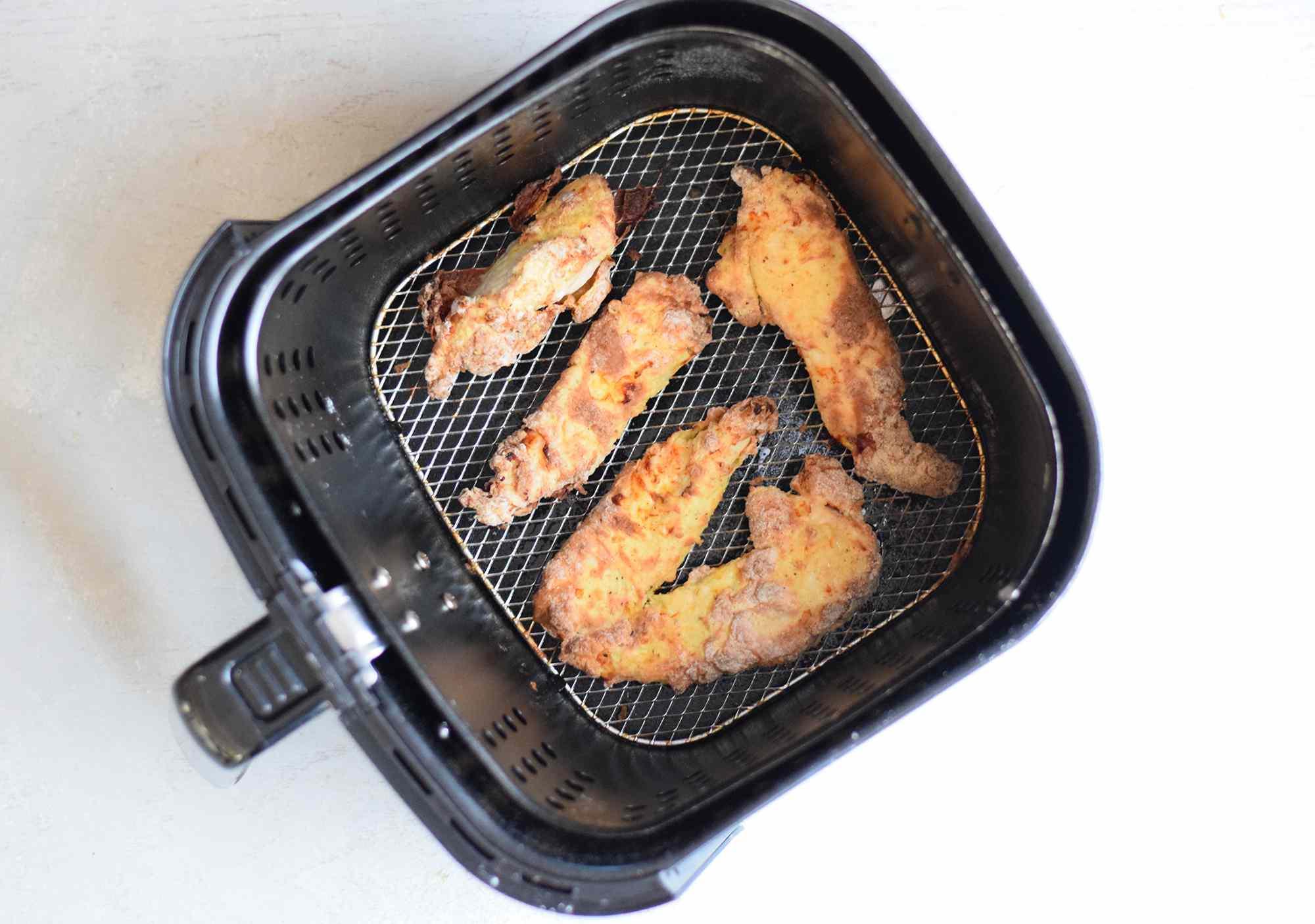 Cooked chicken tenders in air fryer