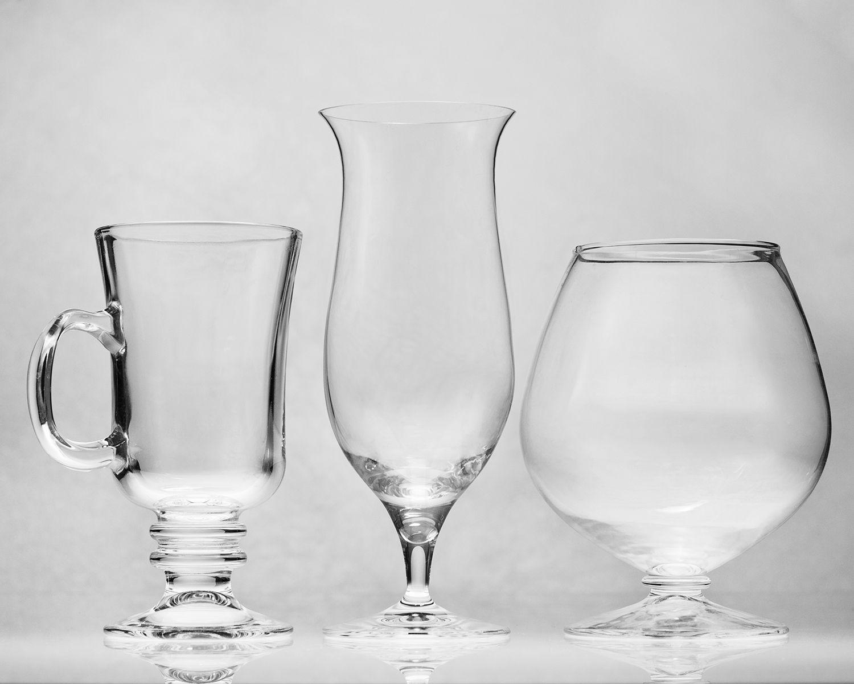 Irish Coffee, Hurricane Glasses and Brandy Snifter