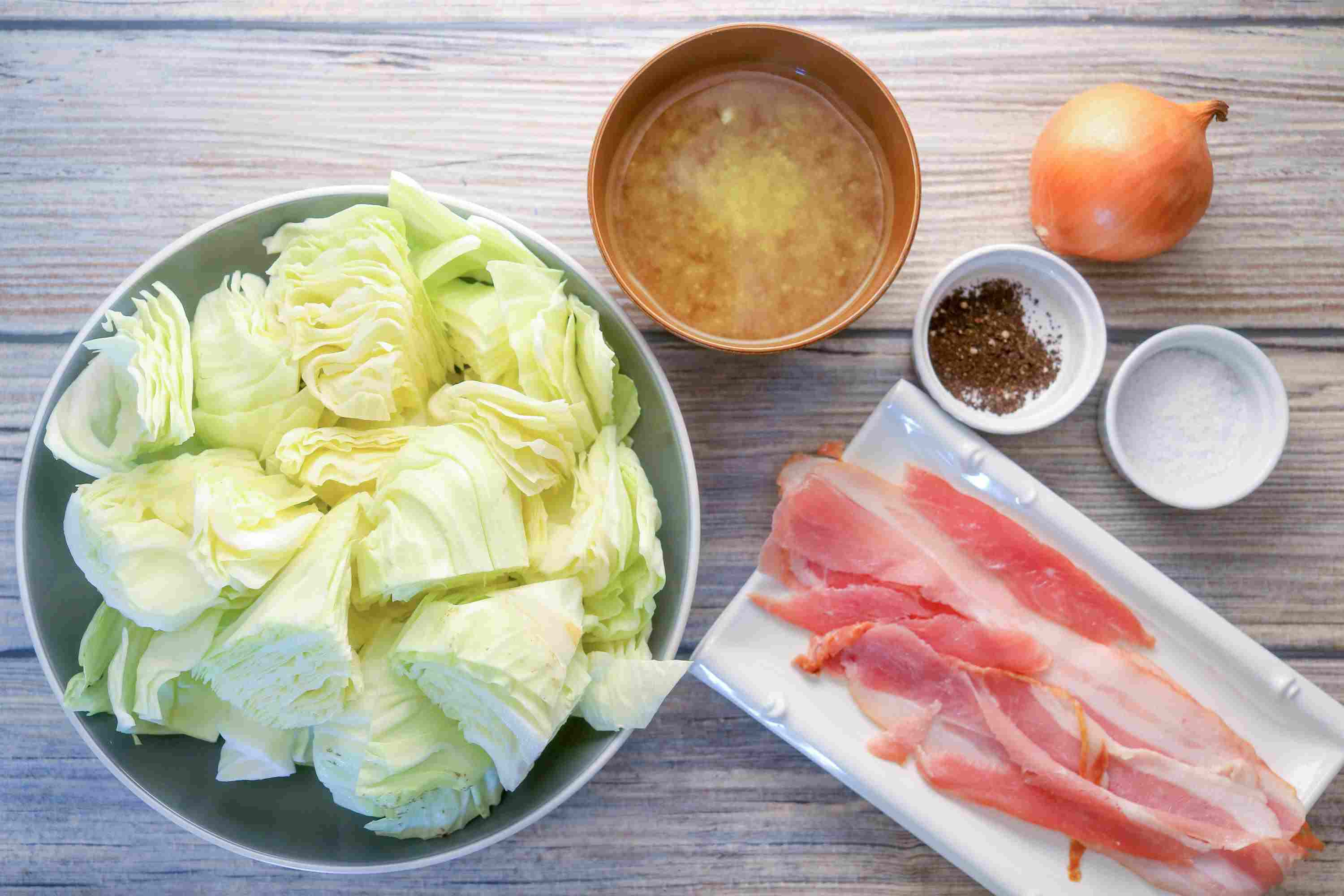 Boiled Cabbage With Bacon Ingredients
