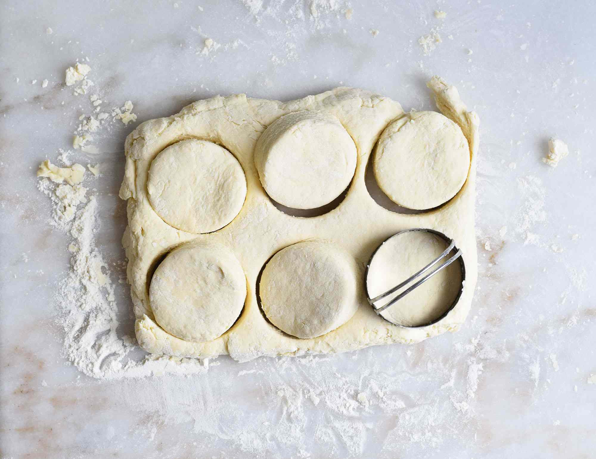 cut biscuits on a marble board