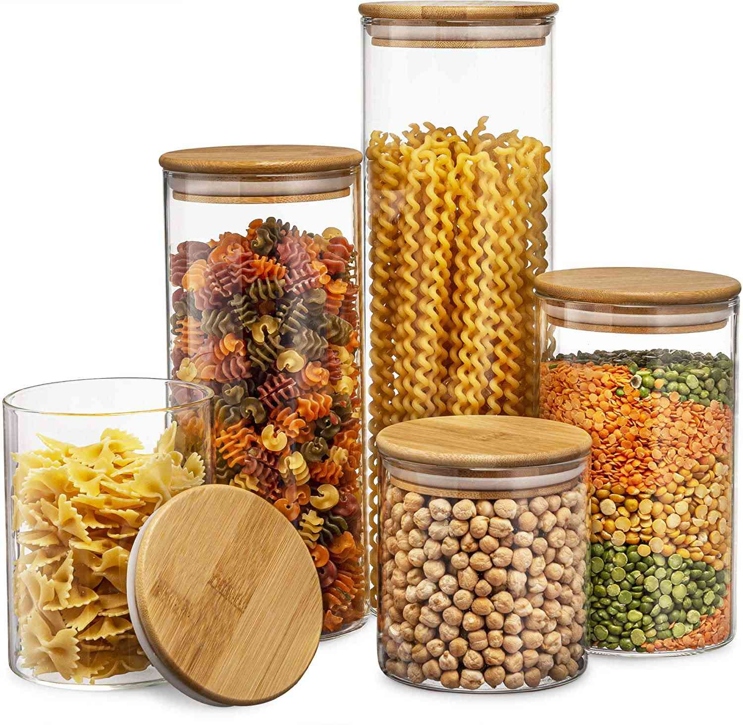 Le'raze Glass Kitchen Canisters with Airtight Bamboo Lid