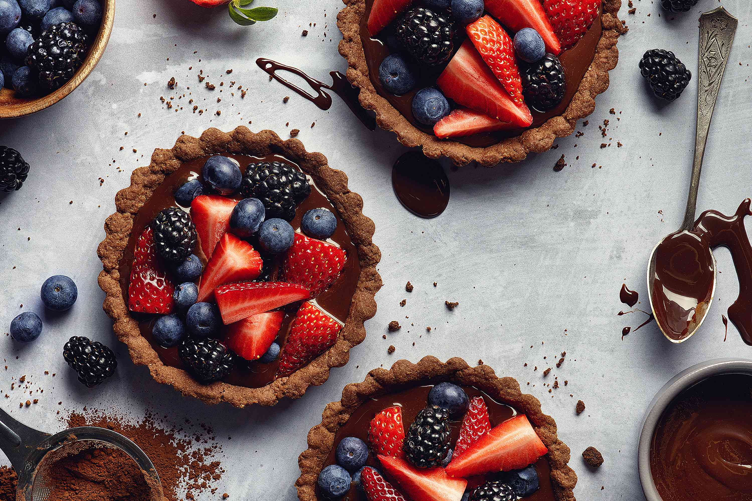 Chocolate pie crust filled with berries