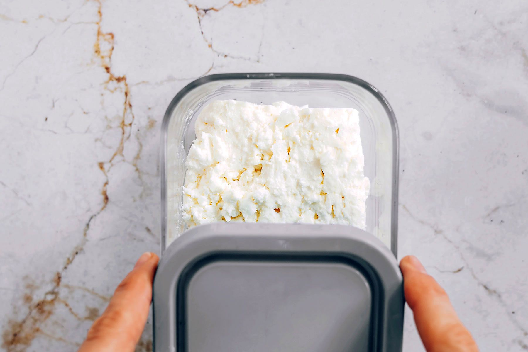 Homemade Feta Cheese in a container