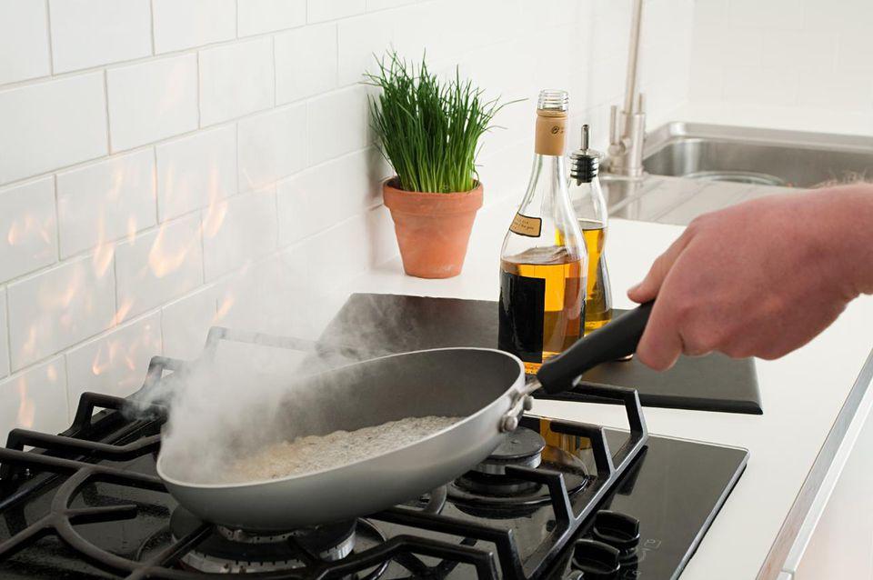Man using nonstick pan