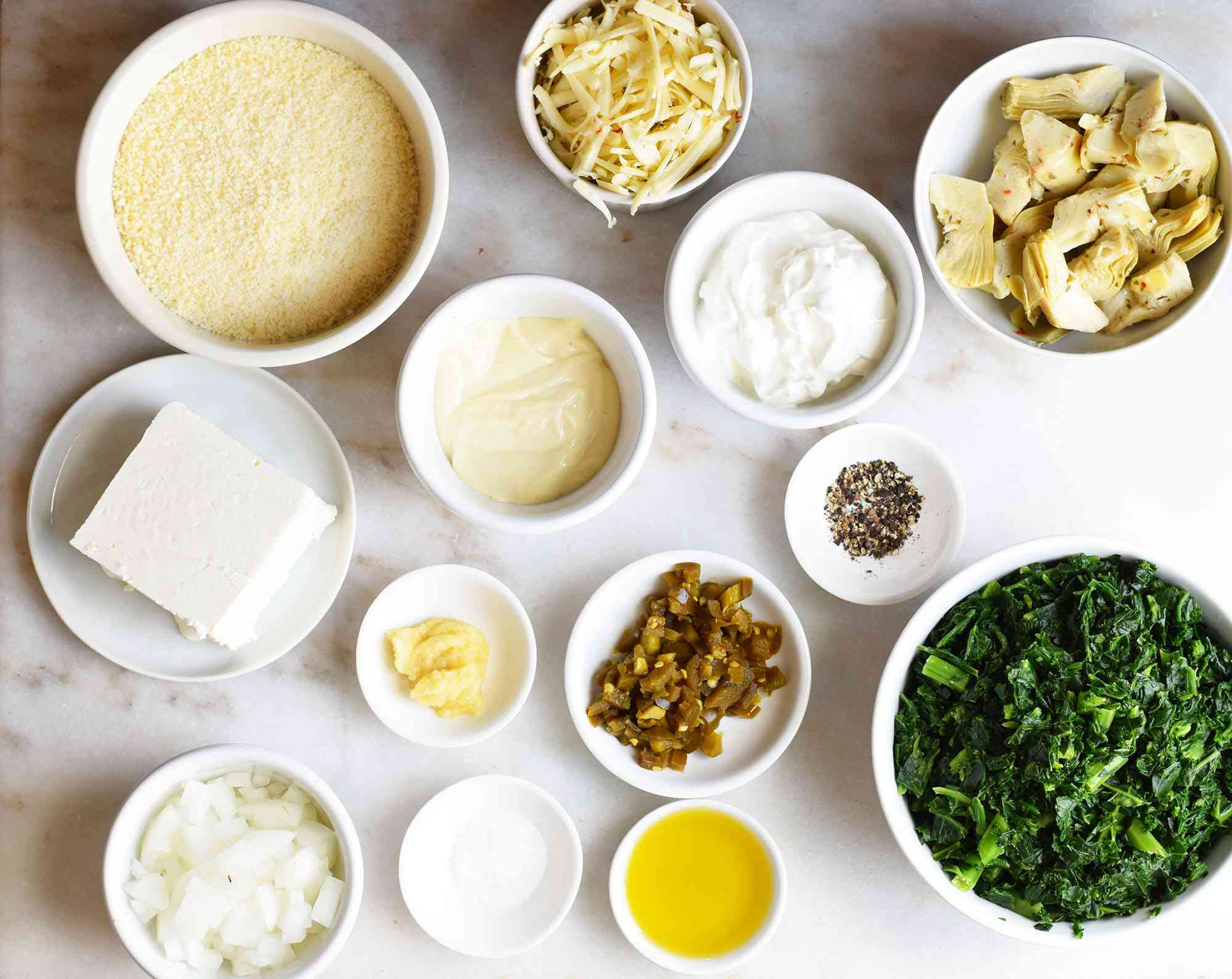ingredients for spinach and artichoke dip