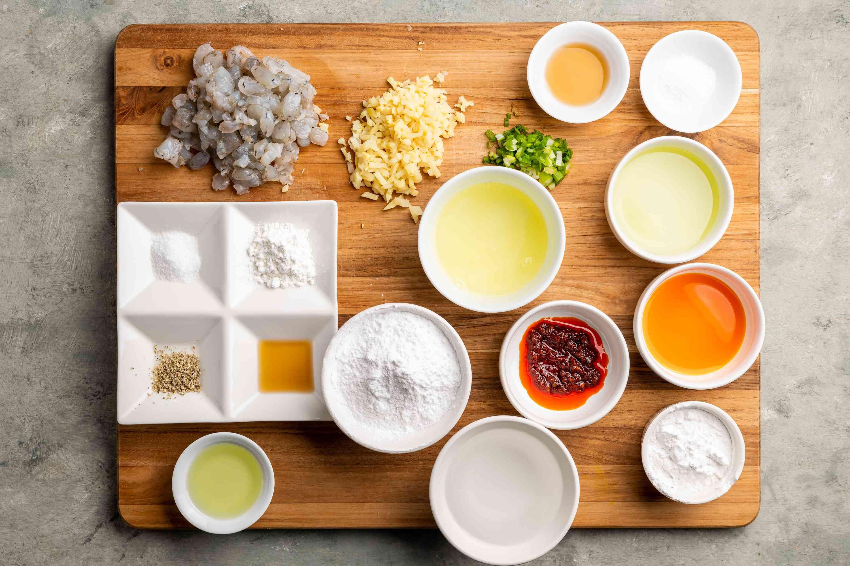 Ingredients for har gow (Chinese shrimp dumplings)