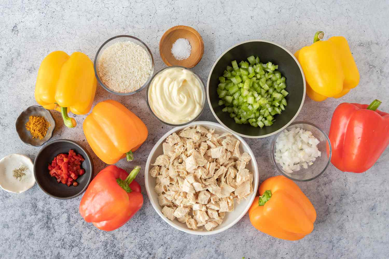 Chicken and Rice Stuffed Peppers ingredients