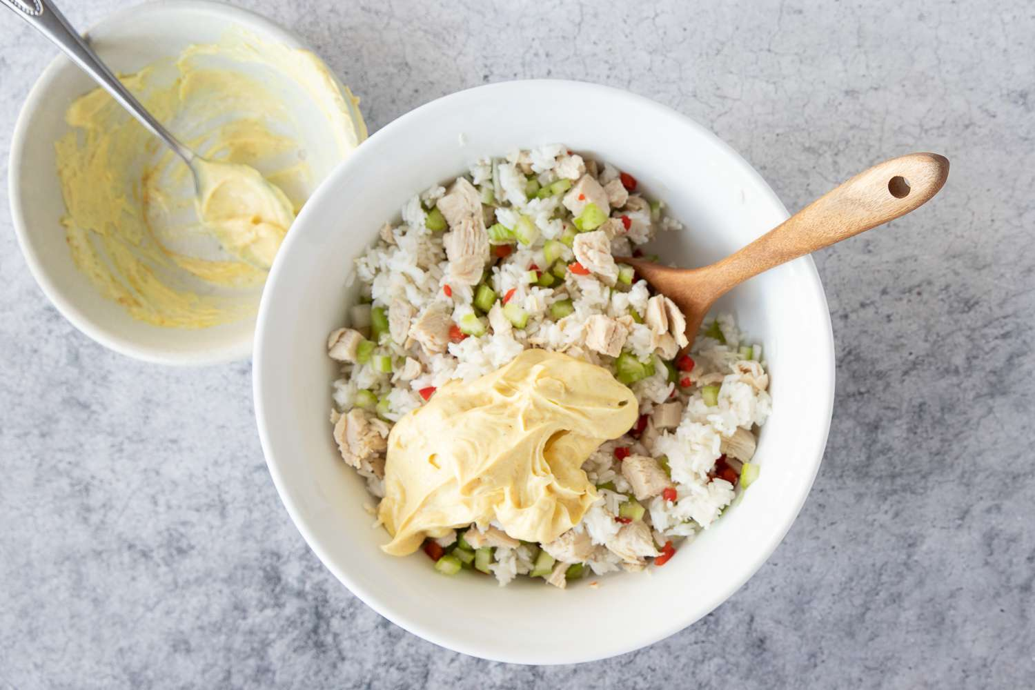 Gently toss mayonnaise mixture with rice and chicken mixture