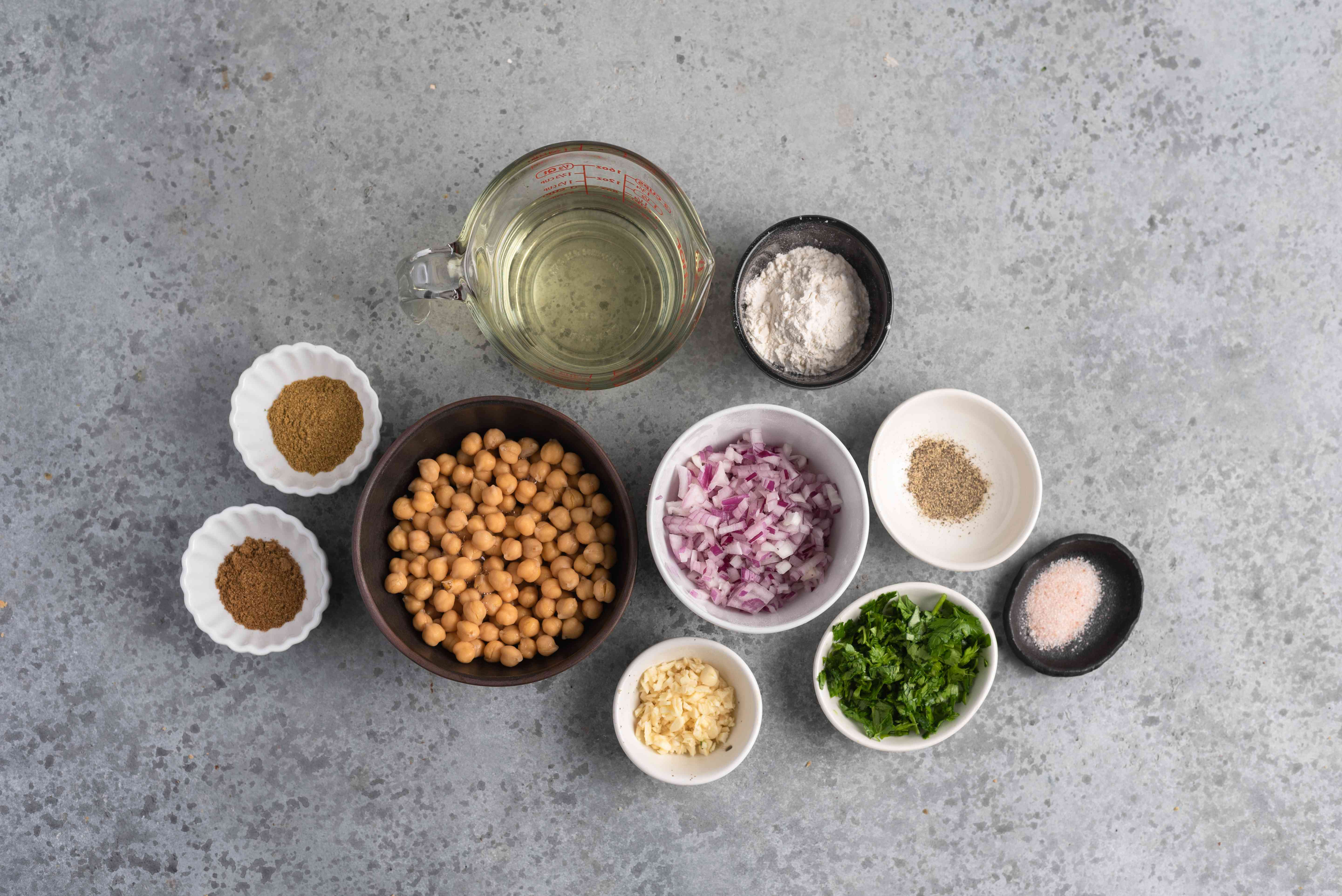 Ingredients for easy falafel recipe