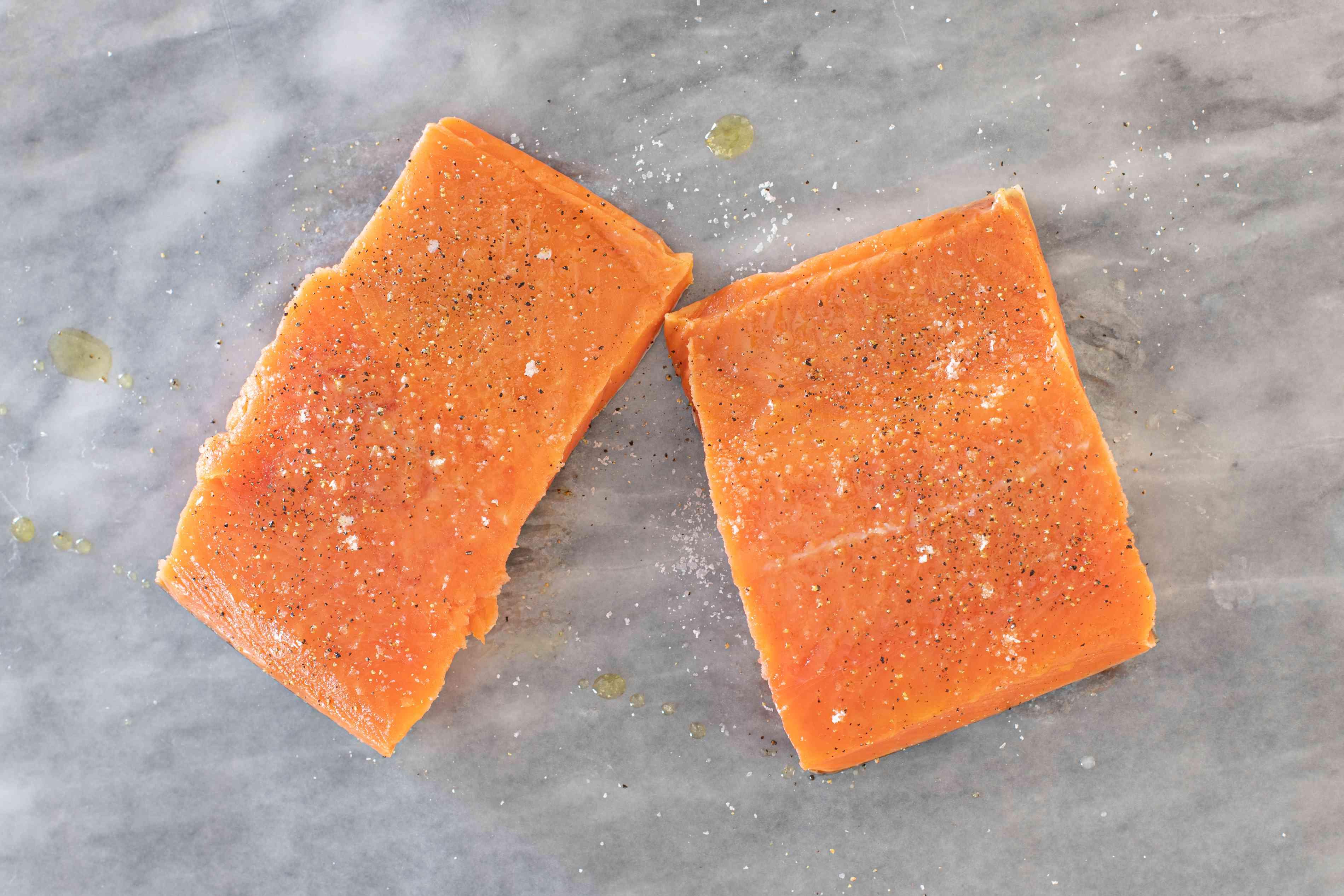 prepare the salmon fillets