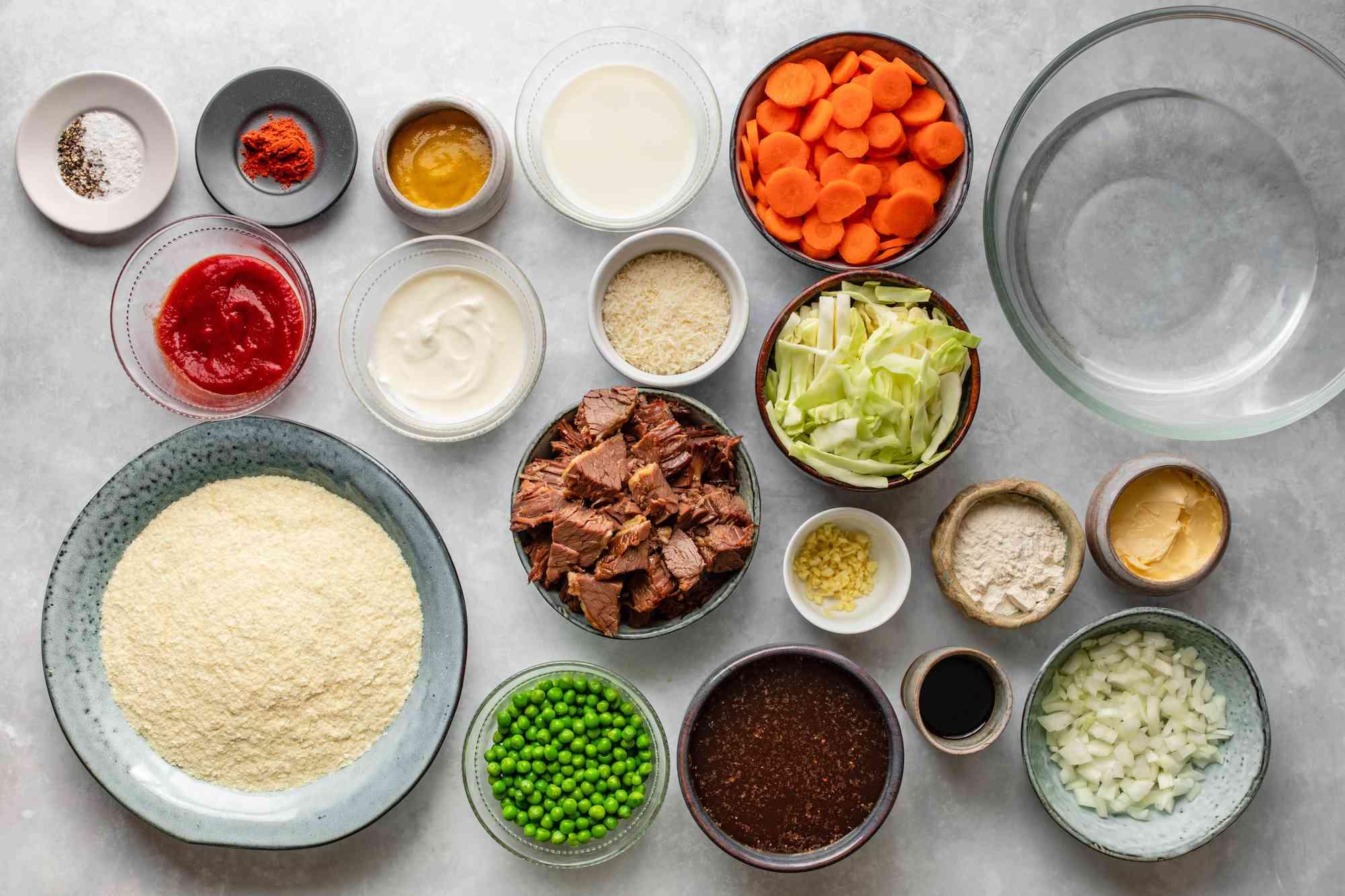 Ingredients for corned beef shepherd's pie