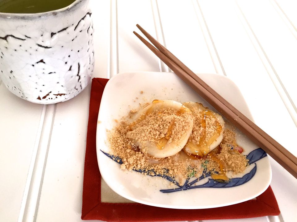 Tofu Mochi (Rice Cakes) with Sweet Roasted Soy Bean Flour (Kinako)