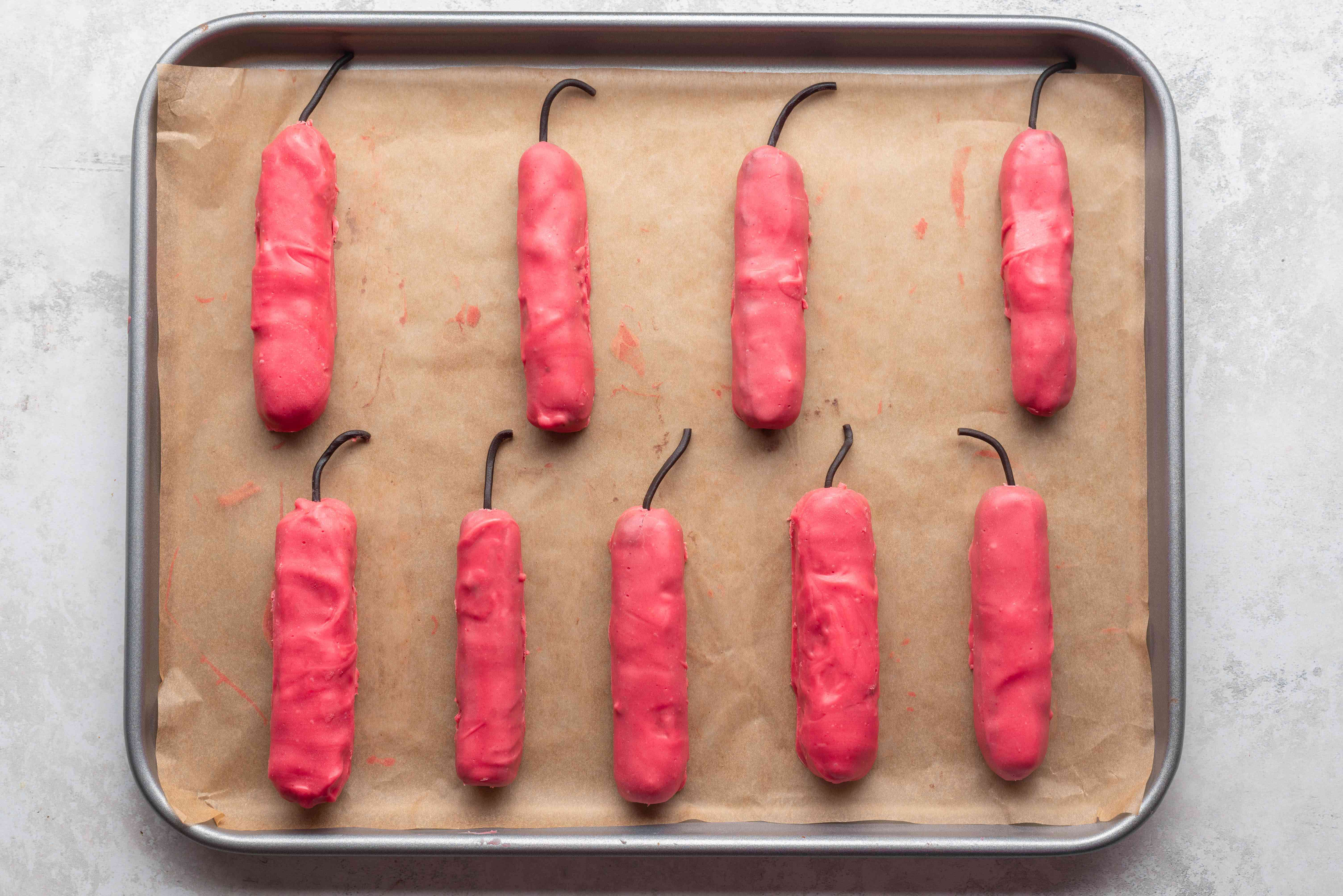 Chocolate Firecrackers on a baking sheet