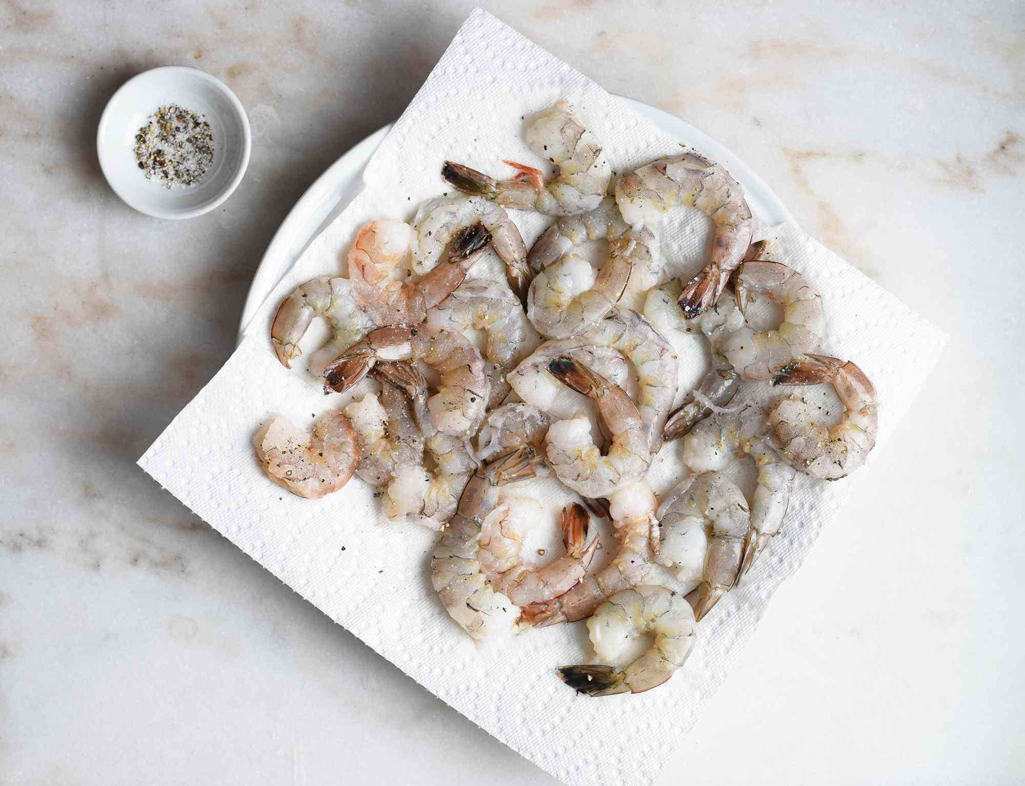 shrimp patted dry and salted and peppered