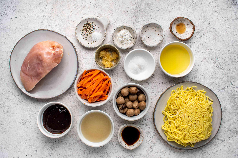 Ingredients for chicken lo mein
