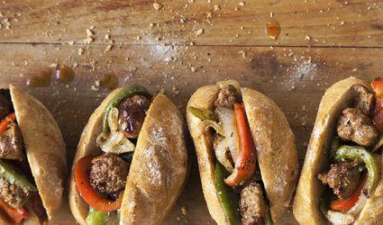 A set of smoked sausage sandwiches