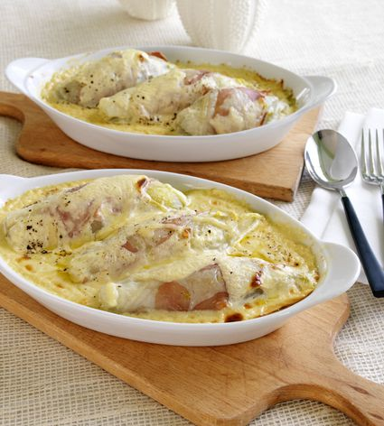 Chicken with a cheese sauce