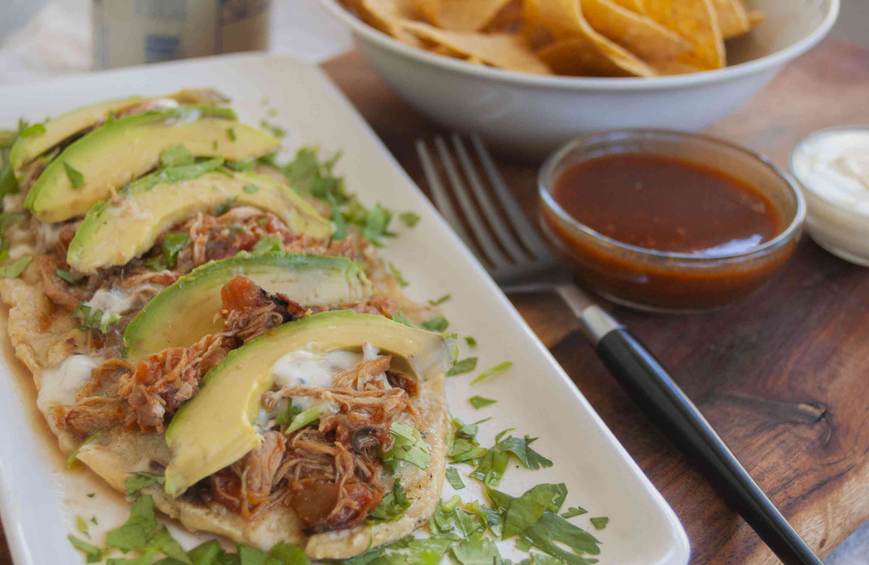Huarache With Chicken Tinga and Avocado