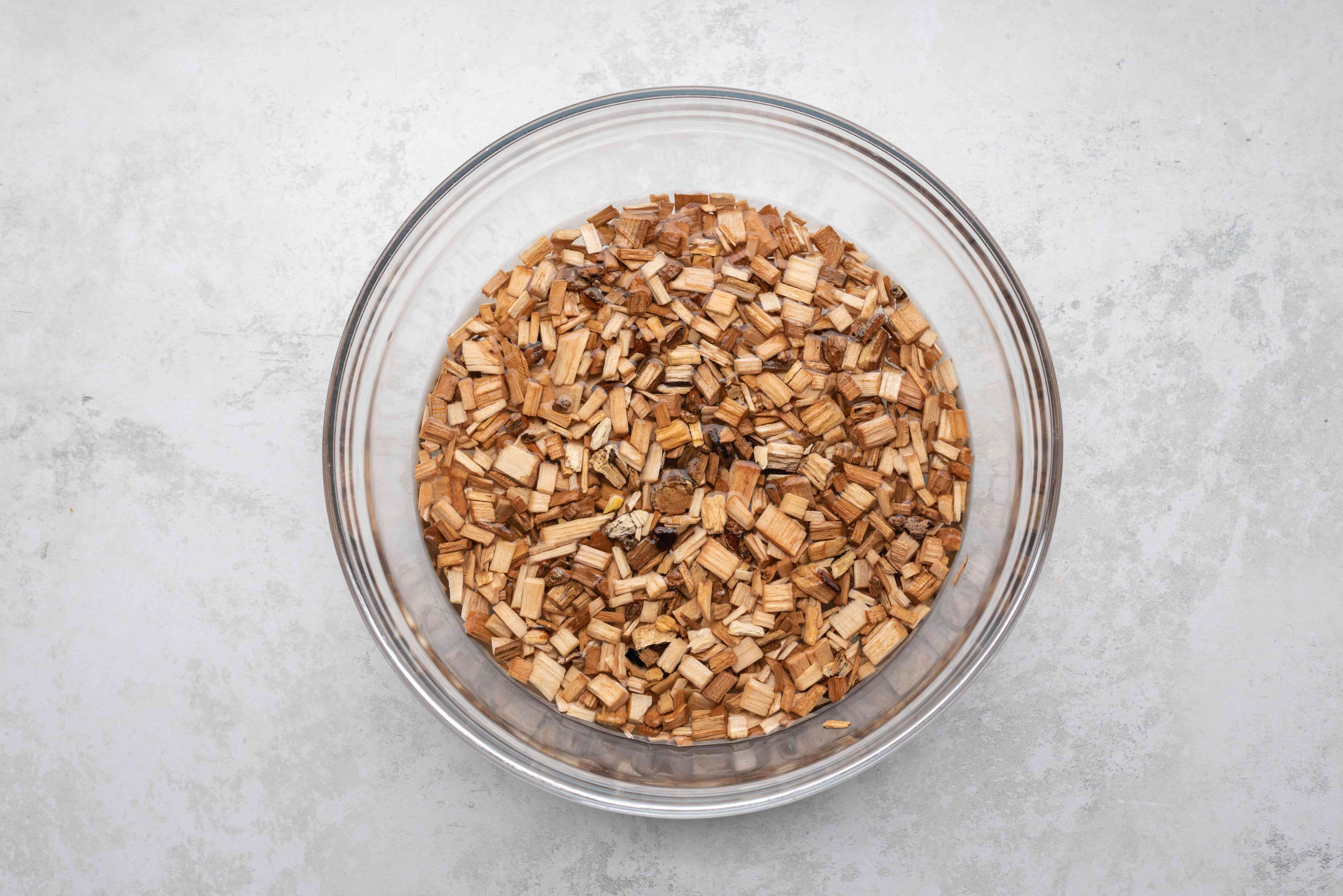 wood chips in a bowl with water