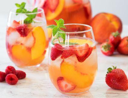 Rosé Sangria With Peach, Raspberry, and Strawberry