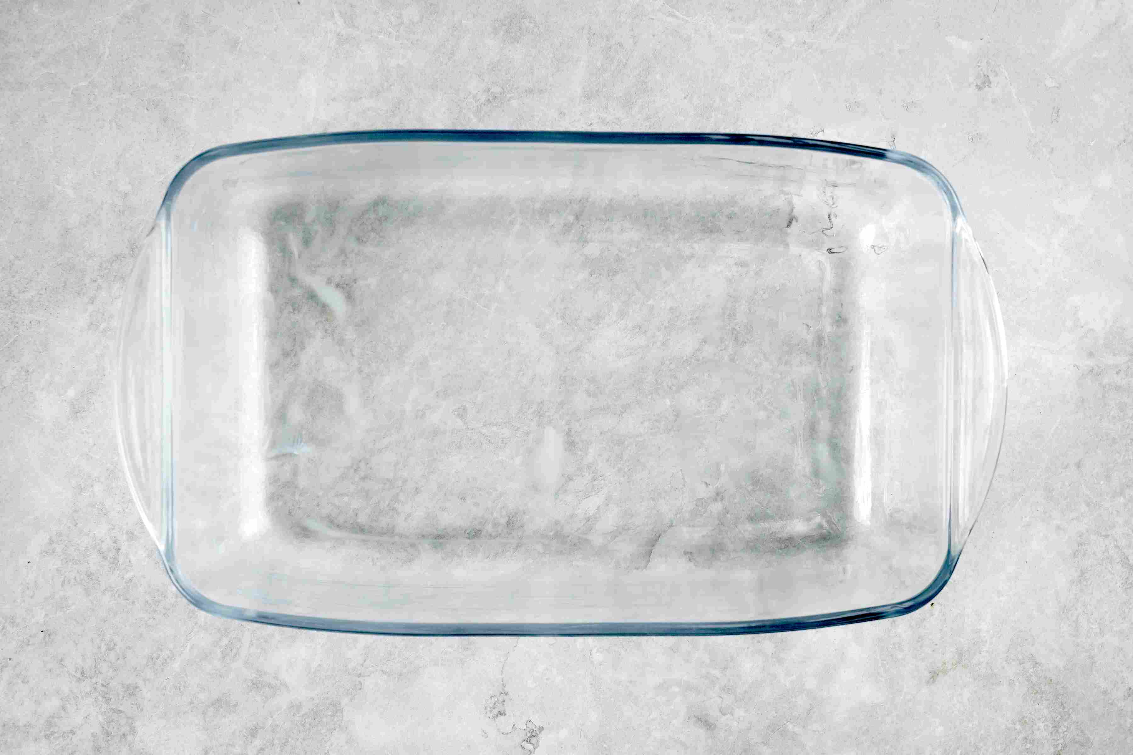 Buttered glass baking dish