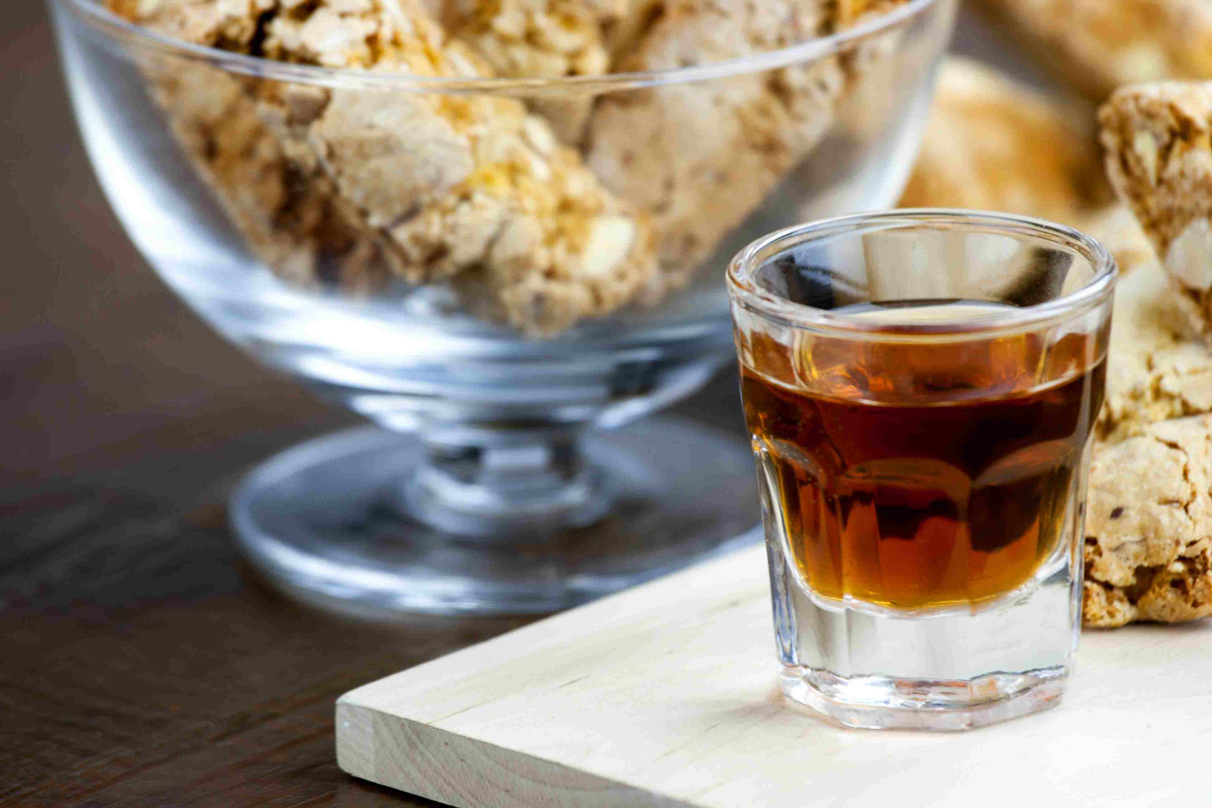 Glass of Homemade Amaro with Biscotti