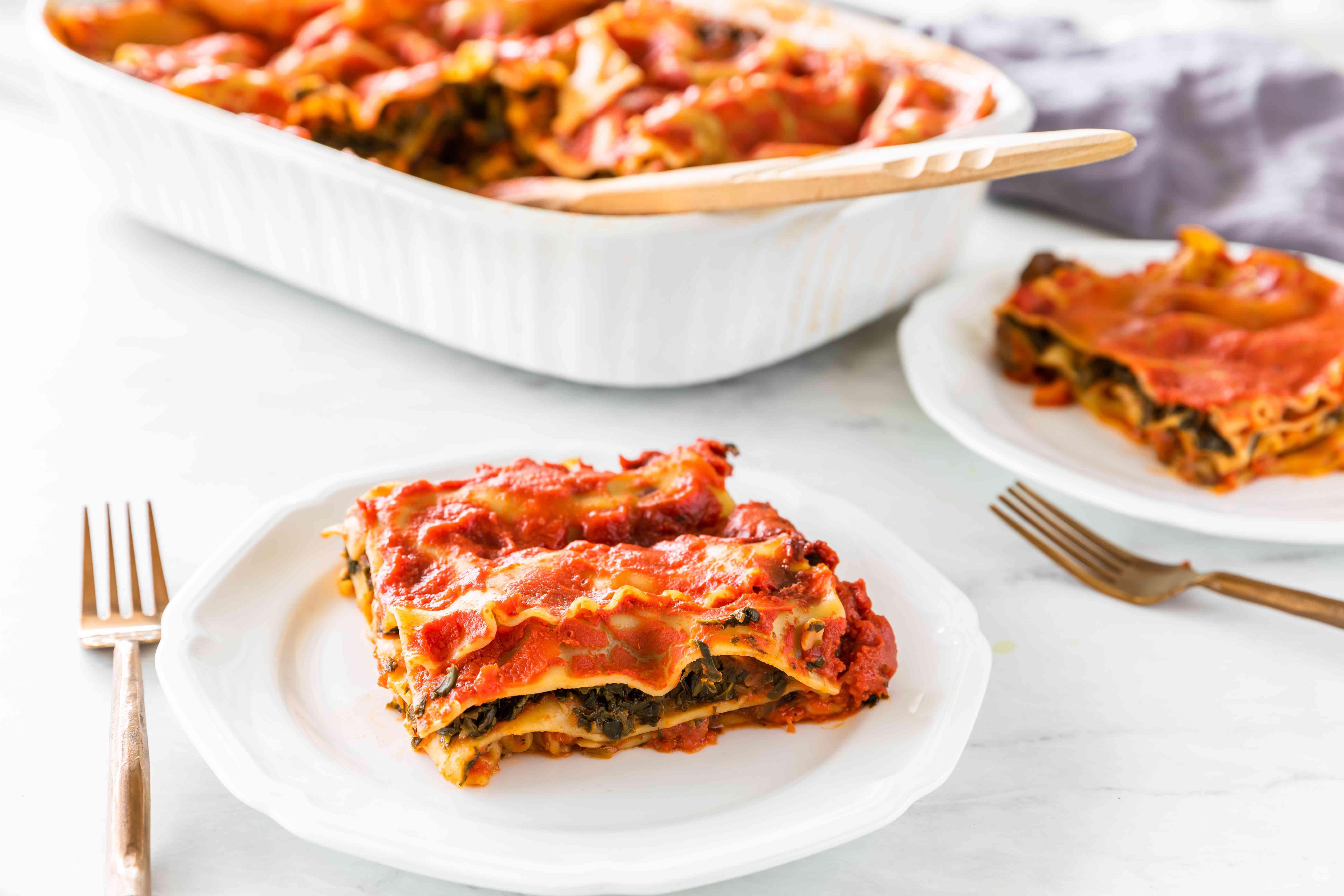 Low-fat vegan eggplant lasagna