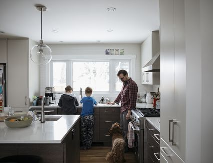 Dog watching father and sons doing dishes at kitchen sink