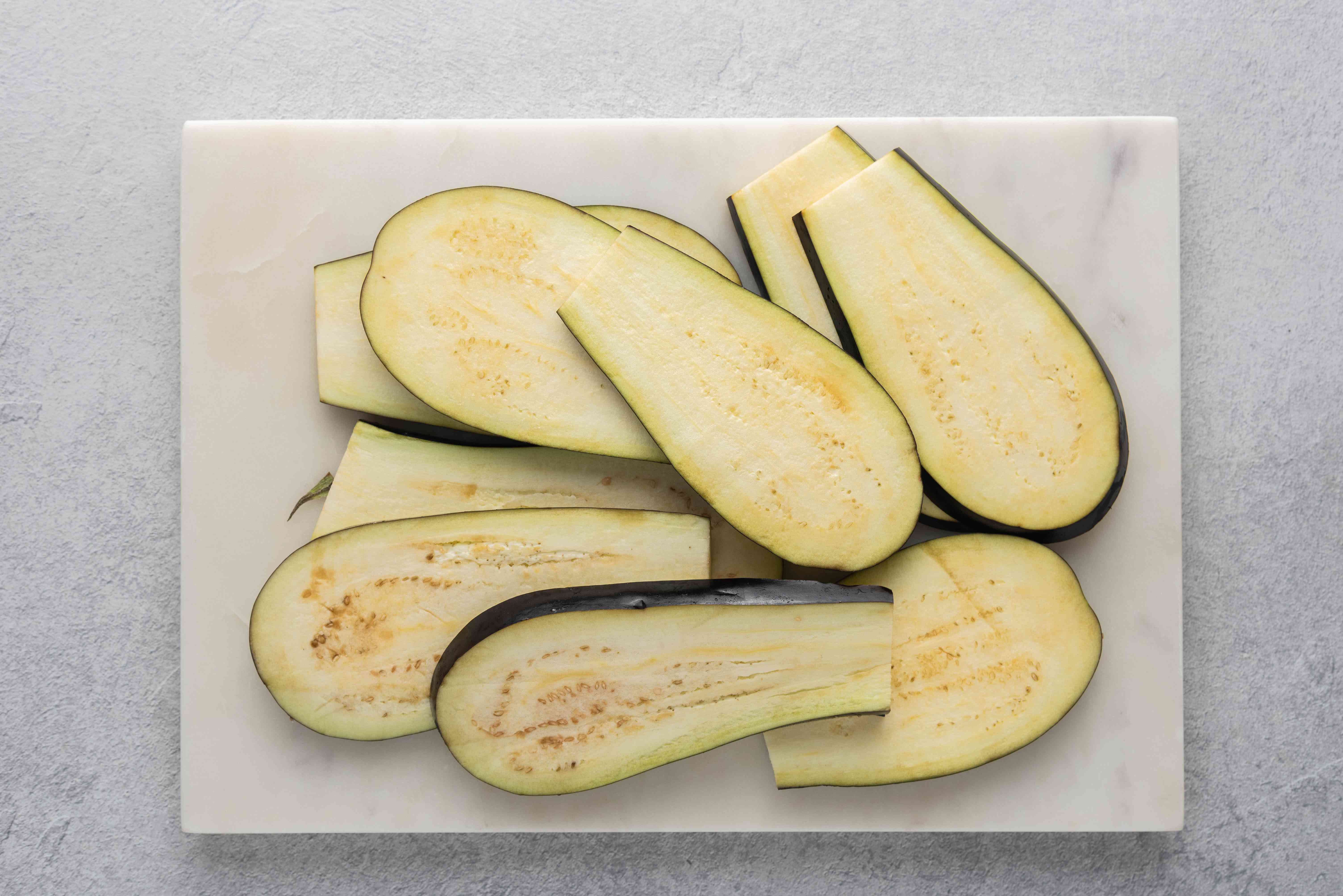 eggplants cut lengthwise, thick slices