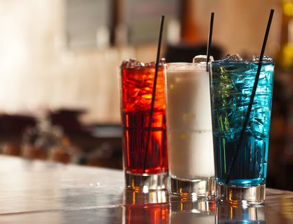 Red, white and blue cocktails