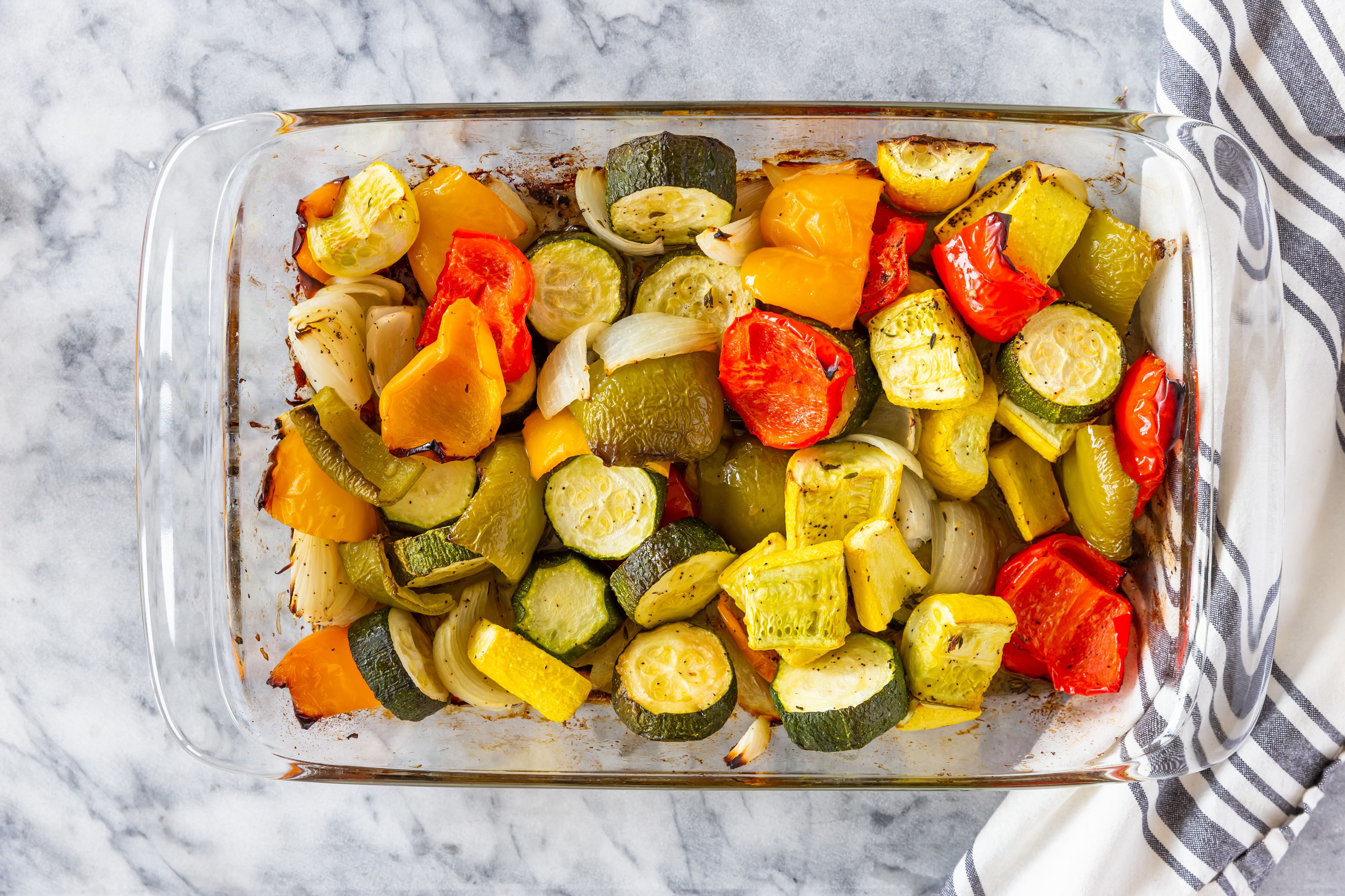 Roasted red peppers and zucchini