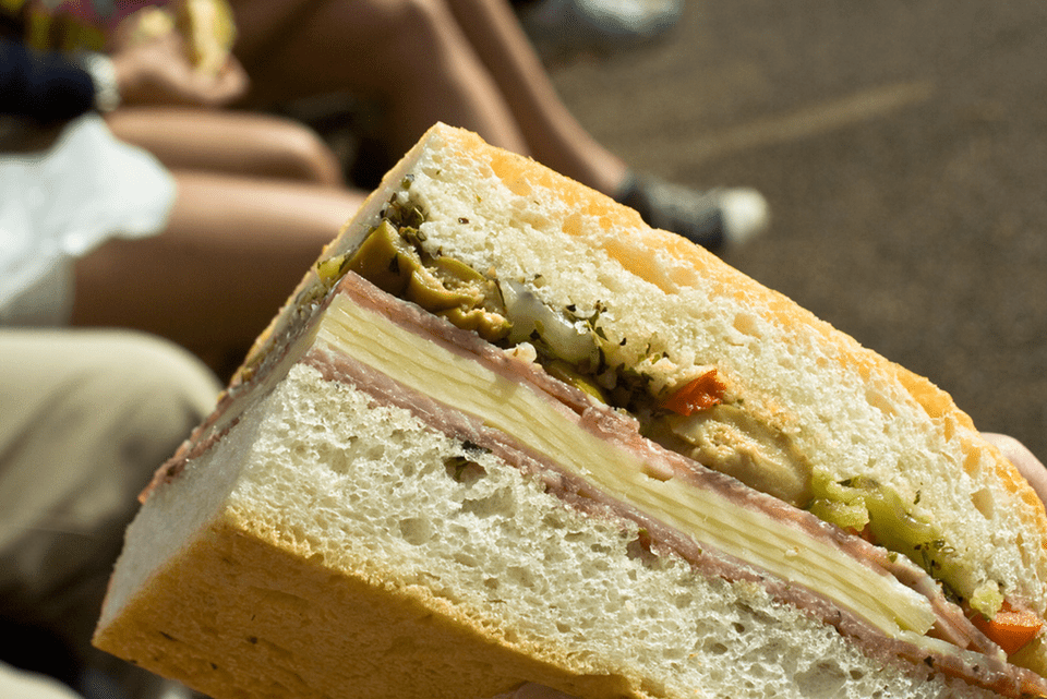 Muffaletta close up of olive spread