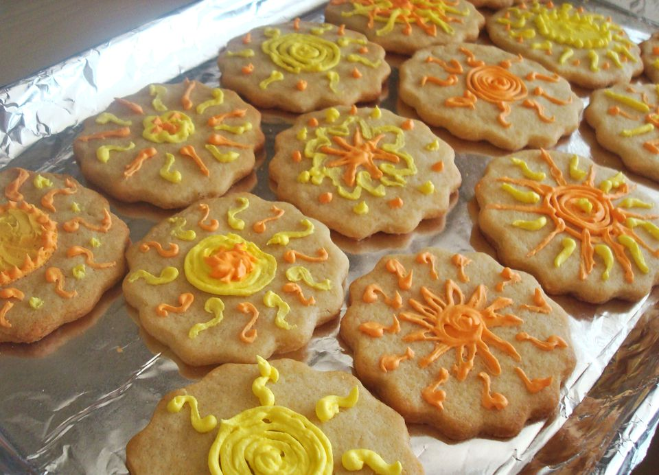 Vanilla Sugar Cookies, decorated with sunshine motifs piped in royal icingVanillaSugarCookies.JPG