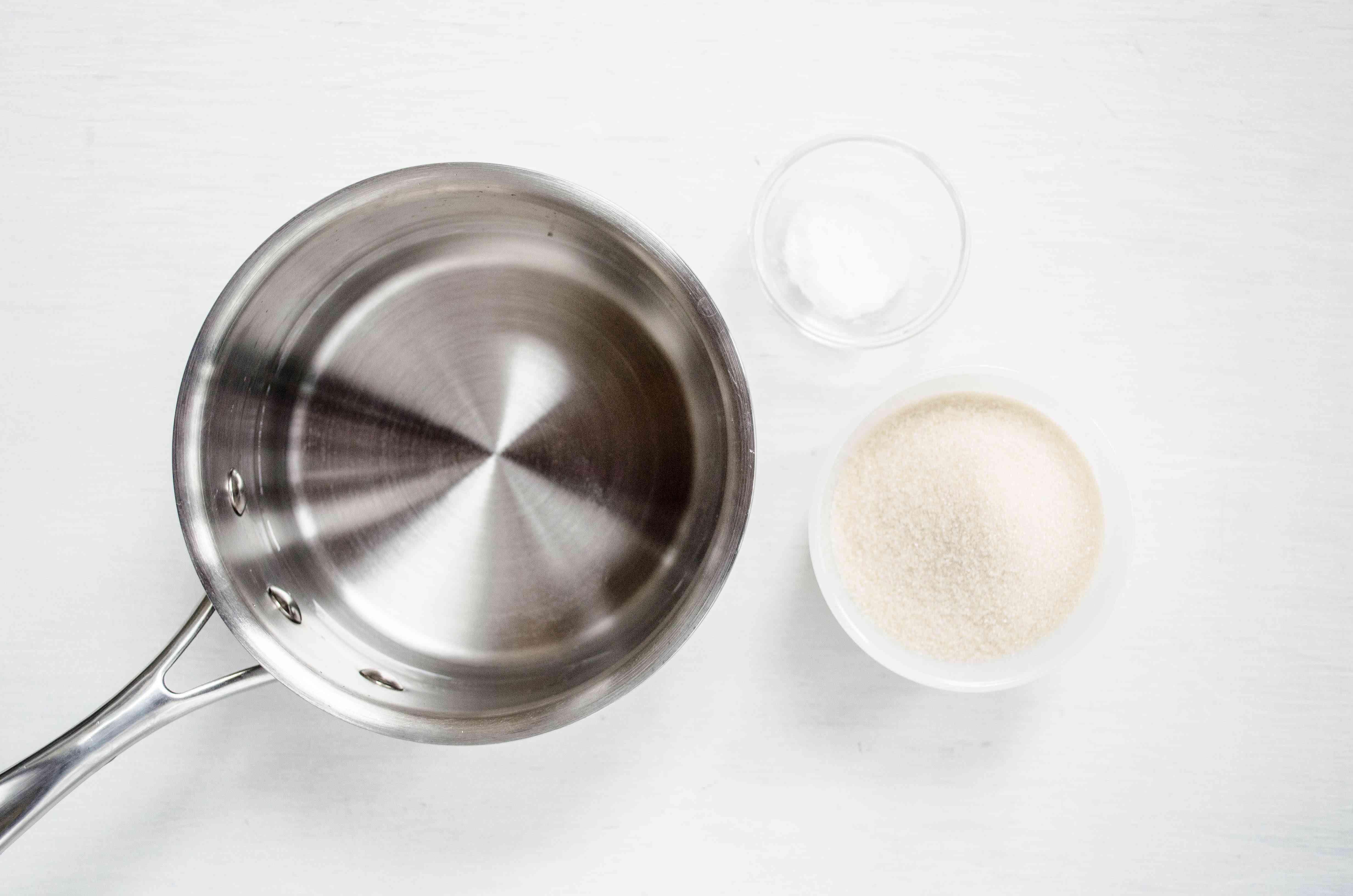 Saucepan with sugar and salt