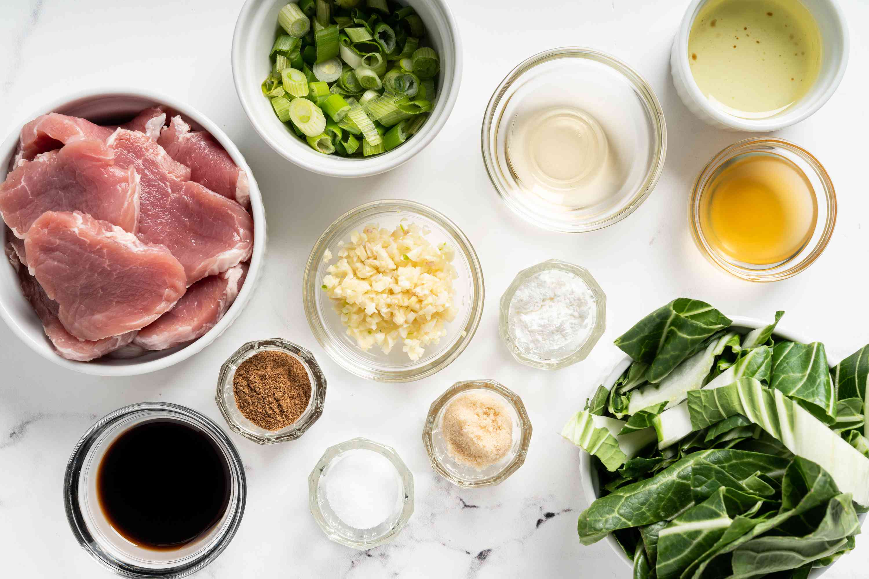 Five-Spice Pork with Bok Choy and Green Onions ingredients