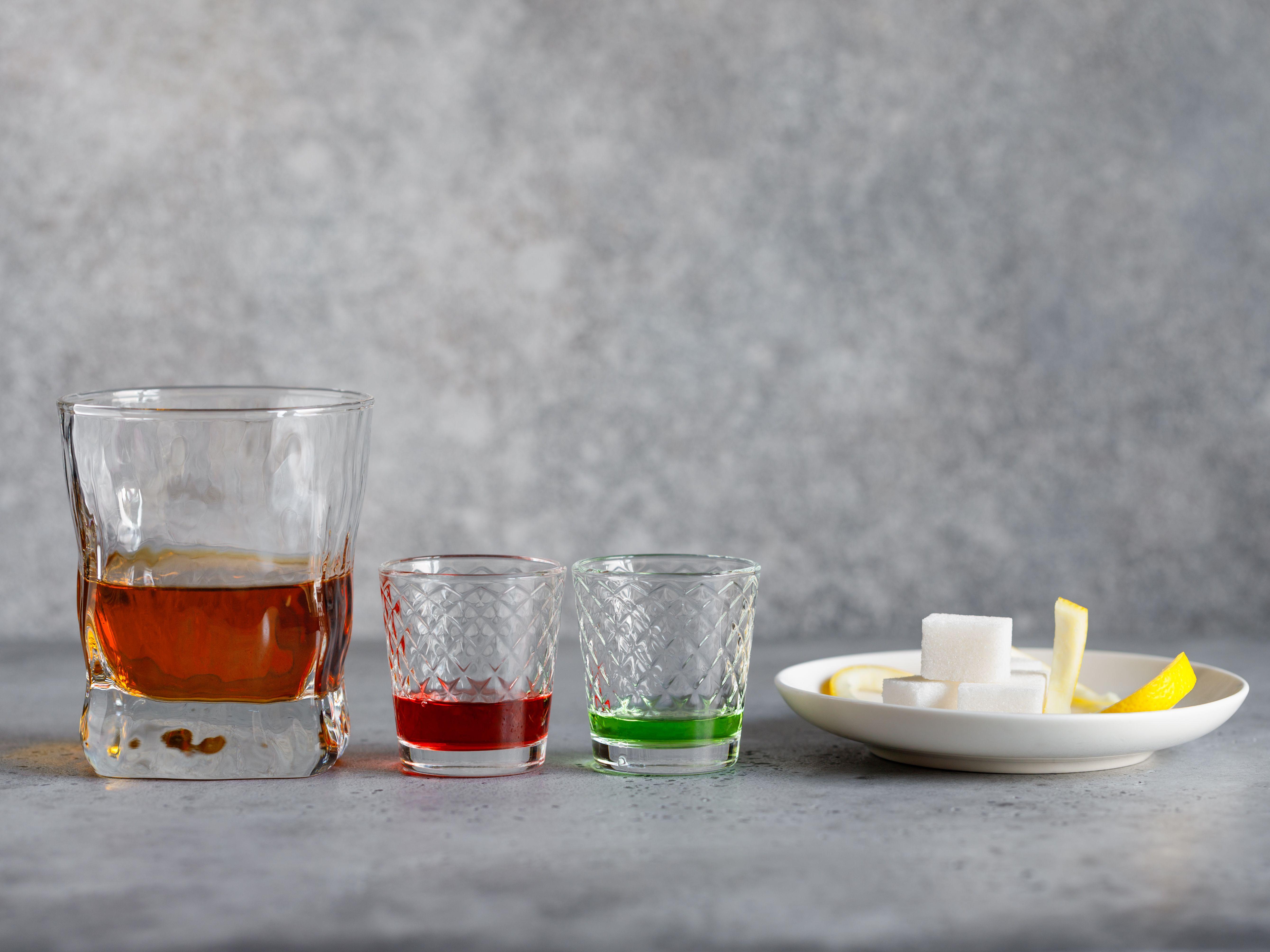 Ingredients for making a sazerac cocktail
