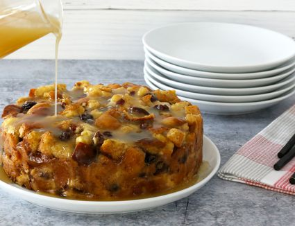 Instant Pot bread pudding with sauce.