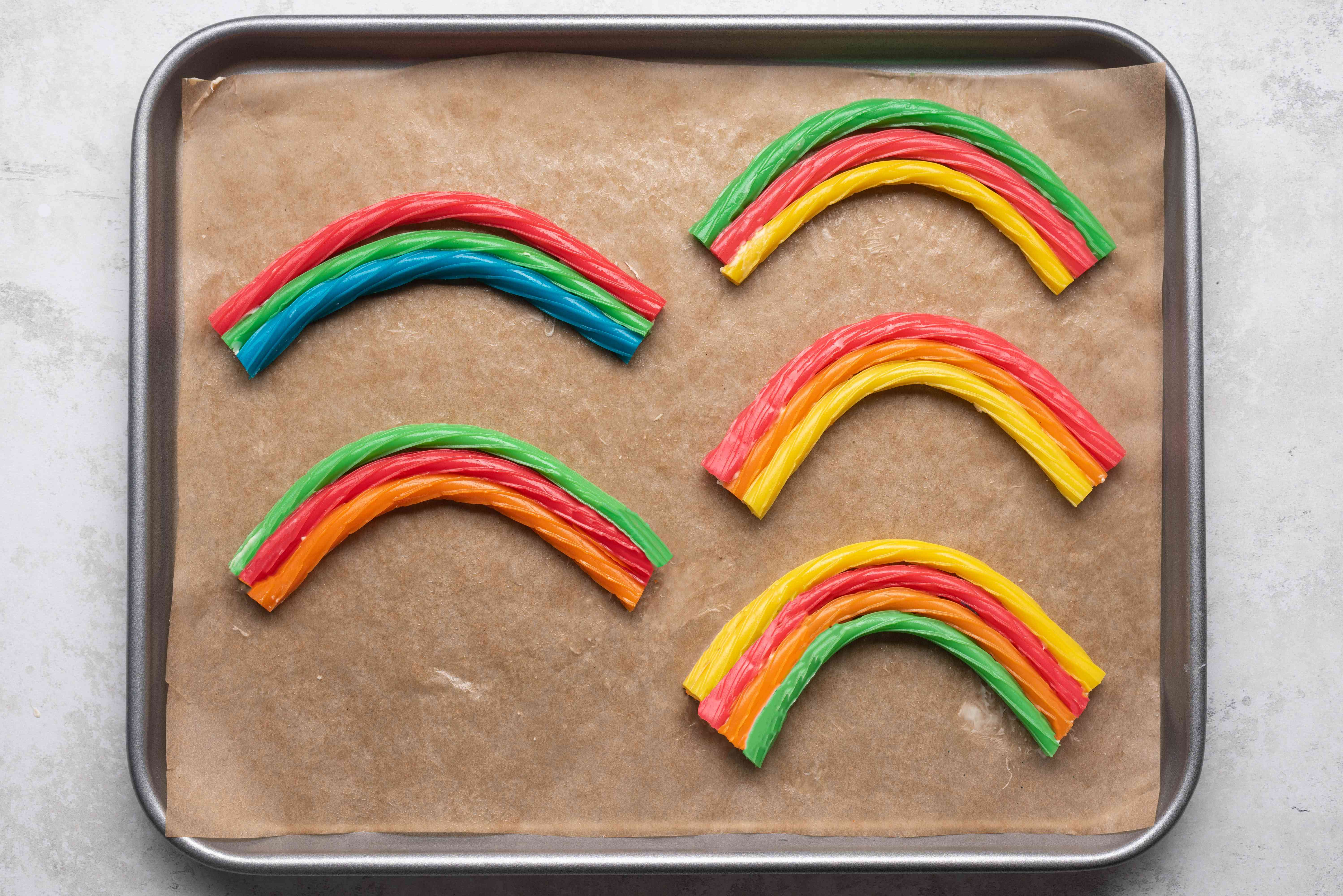 Flip the licorice rainbows over so the white chocolate strips are hidden on the back