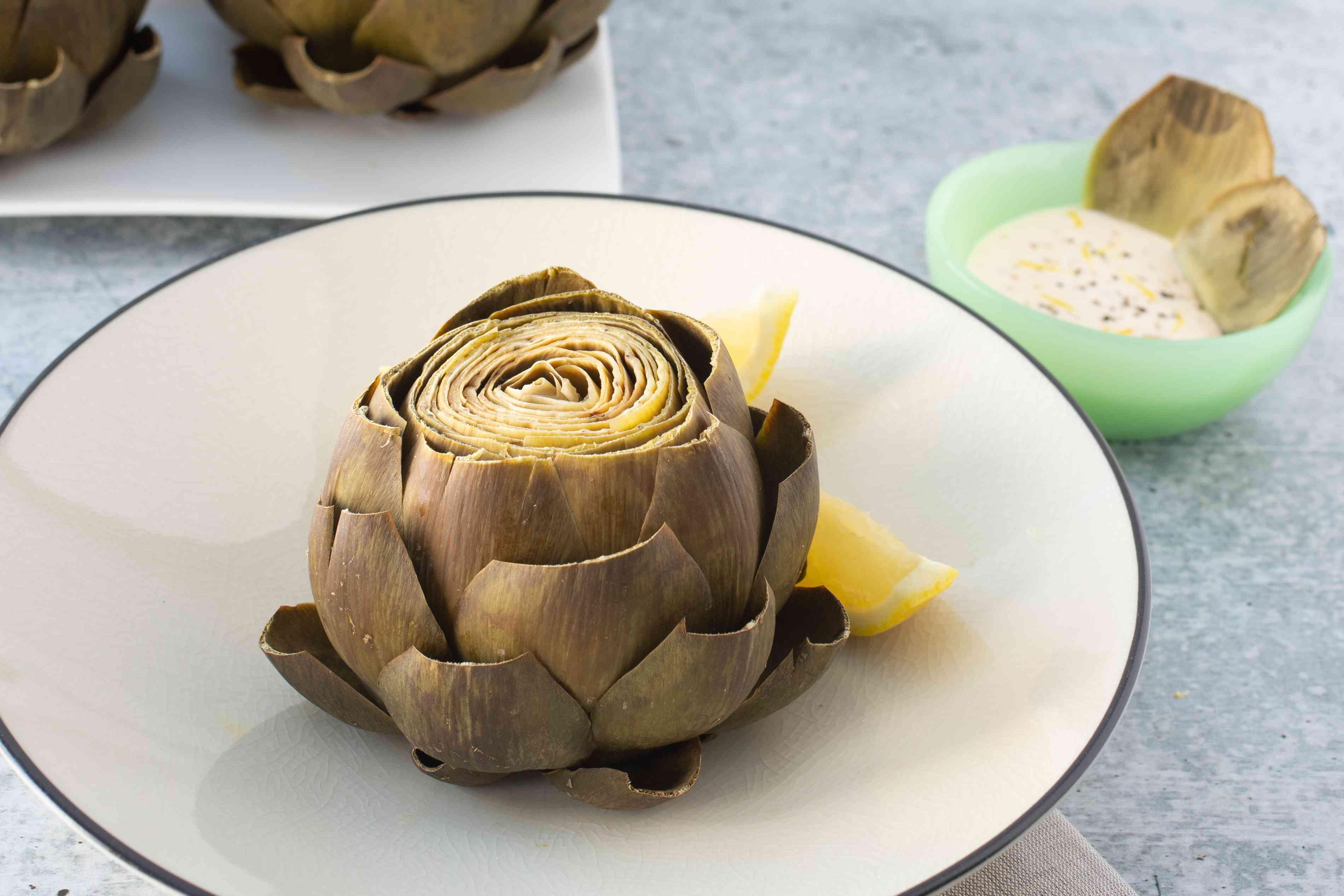 pressure cooker artichoke with aioli