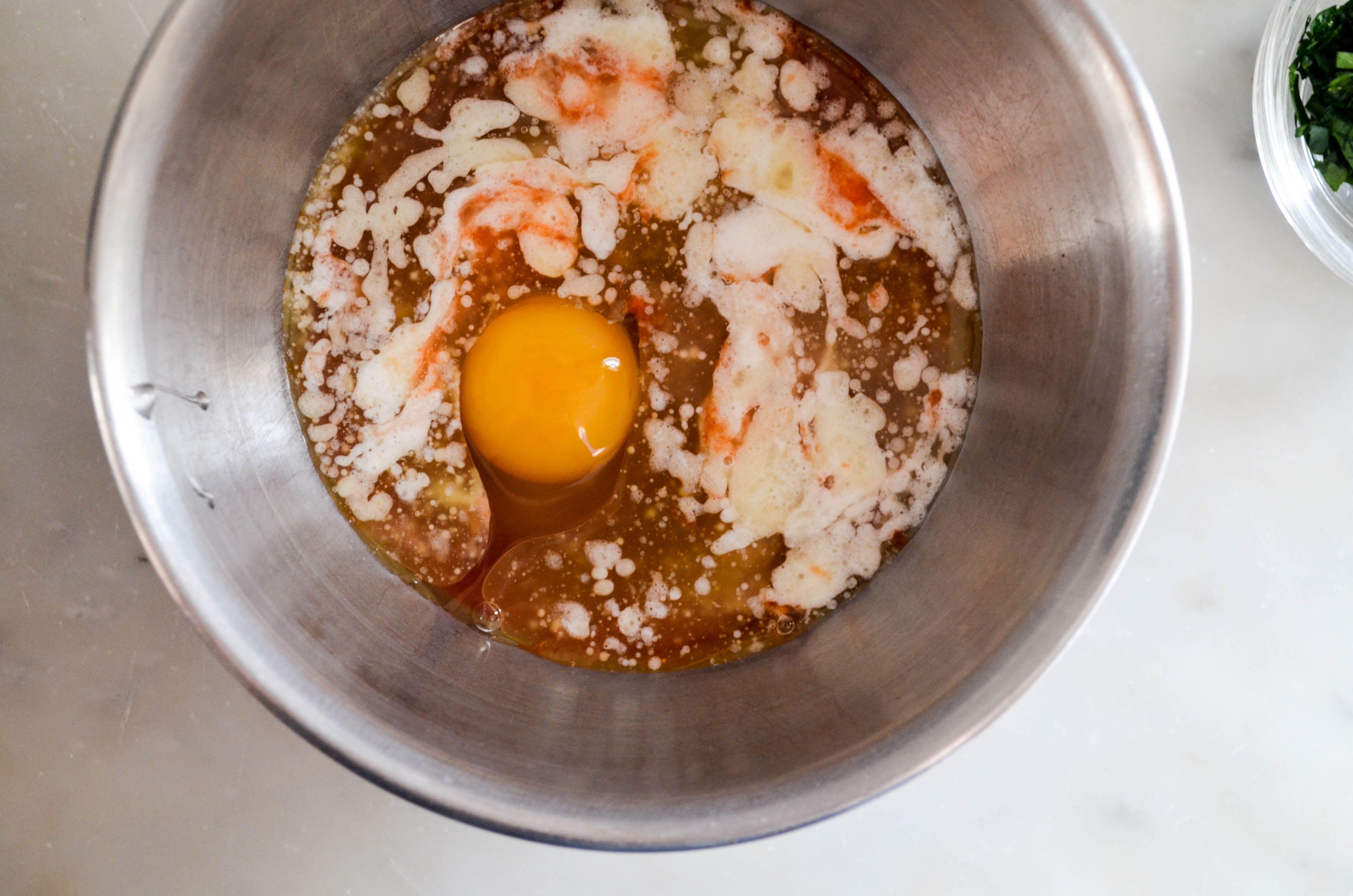 buffalo chicken meatballs - mix wet ingredients