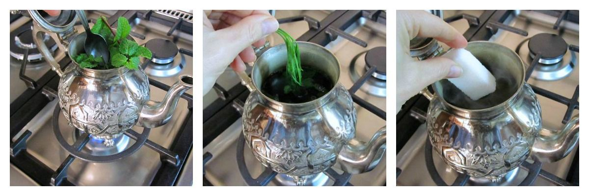 Add the Mint and Sugar—Continue Steeping