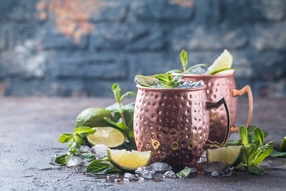 Two moscow mules in copper mugs